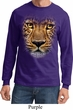Mens Shirt Big Leopard Face Long Sleeve Tee T-Shirt