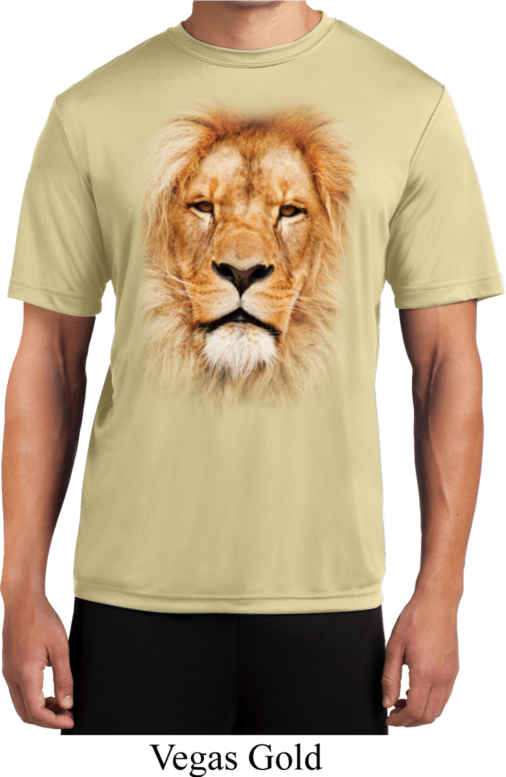 Mens shirt big lion face moisture wicking tee t shirt for Bc lions t shirts