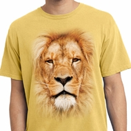 Mens Shirt Big Lion Face Pigment Dyed Tee T-Shirt