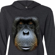 Mens Shirt Big Orangutan Face Lightweight Hoodie Tee