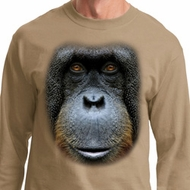 Mens Shirt Big Orangutan Face Long Sleeve Tee T-Shirt