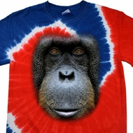 Mens Shirt Big Orangutan Face Patriotic Tie Dye Tee T-shirt