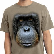 Mens Shirt Big Orangutan Face Pigment Dyed Tee T-Shirt