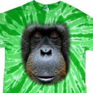 Mens Shirt Big Orangutan Face Twist Tie Dye Tee T-shirt