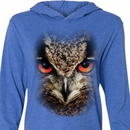 Mens Shirt Big Owl Face Lightweight Hoodie Tee