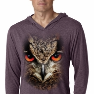 Mens Shirt Big Owl Face Lightweight Hoodie Tee T-Shirt