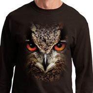Mens Shirt Big Owl Face Long Sleeve Tee T-Shirt