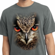 Mens Shirt Big Owl Face Pigment Dyed Tee T-Shirt