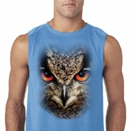 Mens Shirt Big Owl Face Sleeveless Tee T-Shirt