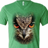 Mens Shirt Big Owl Face Tri Blend V-neck Tee T-Shirt