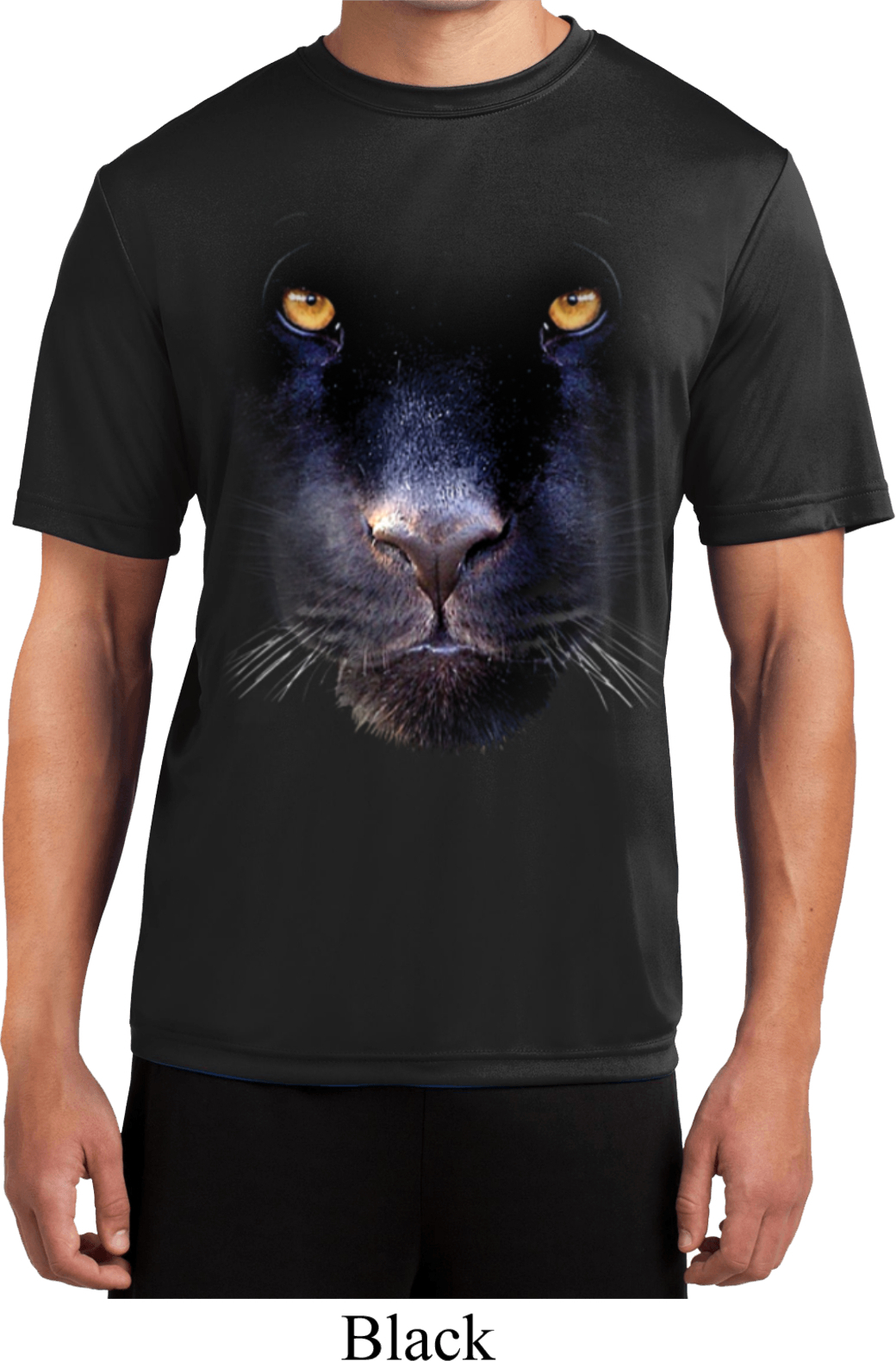 Mens shirt big panther face moisture wicking tee t shirt for Sweat wicking t shirts