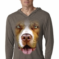 Mens Shirt Big Pit Bull Face Lightweight Hoodie Tee T-Shirt