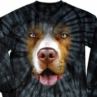 Mens Shirt Big Pit Bull Face Long Sleeve Tie Dye Tee T-shirt