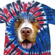 Mens Shirt Big Pit Bull Face Patriotic Tie Dye Tee T-shirt
