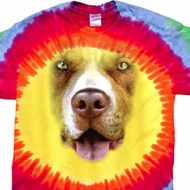 Mens Shirt Big Pit Bull Face Premium Tie Dye Tee T-shirt