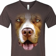 Mens Shirt Big Pit Bull Face Tri Blend V-neck Tee T-Shirt