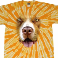 Mens Shirt Big Pit Bull Face Twist Tie Dye Tee T-shirt