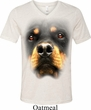 Mens Shirt Big Rottweiler Face Tri Blend V-neck Tee T-Shirt
