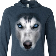 Mens Shirt Big Siberian Husky Face Lightweight Hoodie Tee