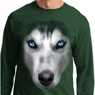 Mens Shirt Big Siberian Husky Face Long Sleeve Tee T-Shirt