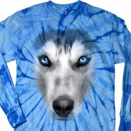Mens Shirt Big Siberian Husky Face Long Sleeve Tie Dye Tee T-shirt