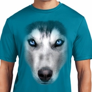 Mens Shirt Big Siberian Husky Face Moisture Wicking Tee T-Shirt