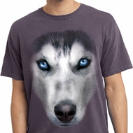 Mens Shirt Big Siberian Husky Face Pigment Dyed Tee T-Shirt
