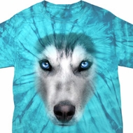 Mens Shirt Big Siberian Husky Face Spider Tie Dye Tee T-shirt