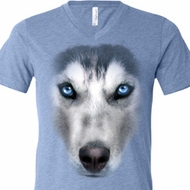 Mens Shirt Big Siberian Husky Face Tri Blend V-neck Tee T-Shirt