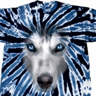 Mens Shirt Big Siberian Husky Face Twist Tie Dye Tee T-shirt