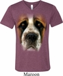 Mens Shirt Big St Bernard Face Tri Blend V-neck Tee T-Shirt