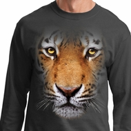 Mens Shirt Big Tiger Face Long Sleeve Tee T-Shirt