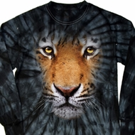 Mens Shirt Big Tiger Face Long Sleeve Tie Dye Tee T-shirt