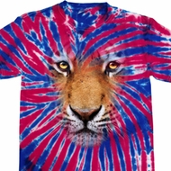 Mens Shirt Big Tiger Face Patriotic Tie Dye Tee T-shirt