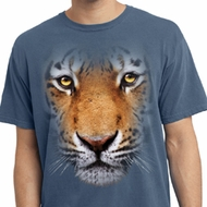 Mens Shirt Big Tiger Face Pigment Dyed Tee T-Shirt