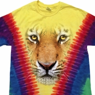Mens Shirt Big Tiger Face Premium Tie Dye Tee T-shirt