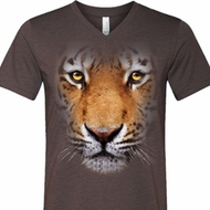 Mens Shirt Big Tiger Face Tri Blend V-neck Tee T-Shirt
