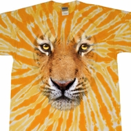 Mens Shirt Big Tiger Face Twist Tie Dye Tee T-shirt