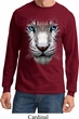 Mens Shirt Big White Tiger Face Long Sleeve Tee T-Shirt