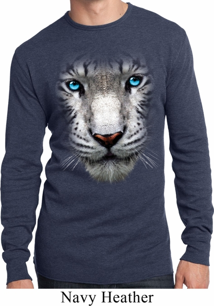 Mens Shirt Big White Tiger Face Long Sleeve Thermal Tee T