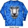 Mens Shirt Big White Tiger Face Long Sleeve Tie Dye Tee T-shirt