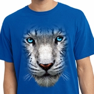 Mens Shirt Big White Tiger Face Pigment Dyed Tee T-Shirt