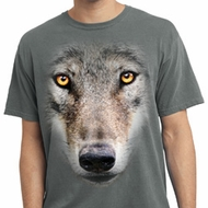 Mens Shirt Big Wolf Face Pigment Dyed Tee T-Shirt