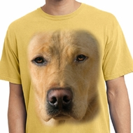 Mens Shirt Big Yellow Lab Face Pigment Dyed Tee T-Shirt