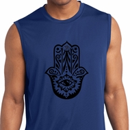 Mens Shirt Black Hamsa Sleeveless Moisture Wicking Tee