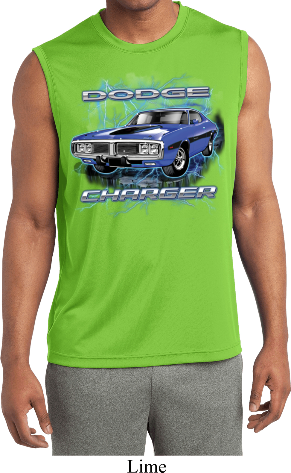 Mens shirt blue dodge charger sleeveless moisture wicking for Sweat wicking t shirts