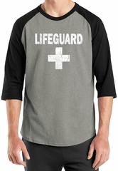 Mens Shirt Distressed Lifeguard Raglan Tee T-Shirt