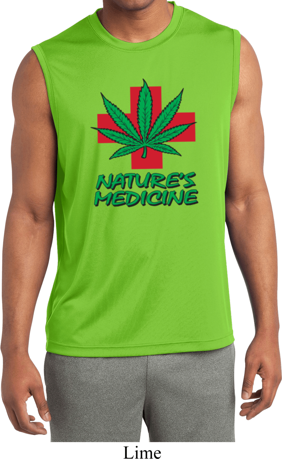 Mens shirt natures medicine sleeveless moisture wicking for Sweat wicking t shirts