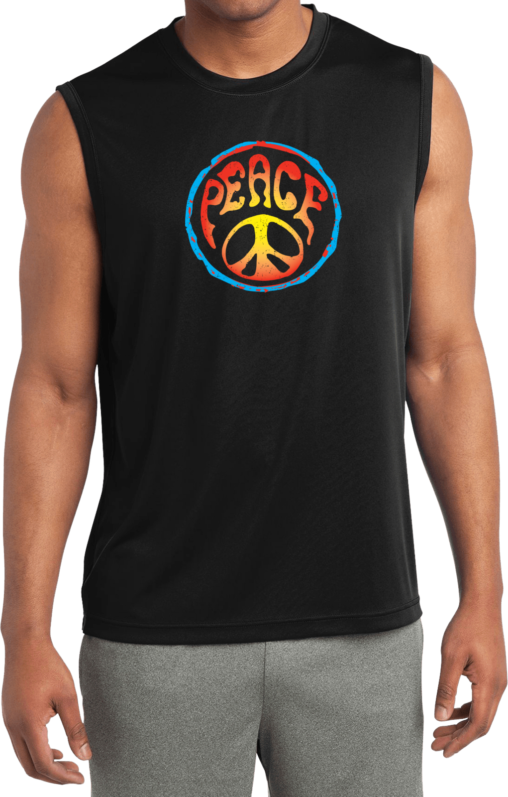 Mens shirt psychedelic peace sleeveless moisture wicking for Sweat wicking t shirts
