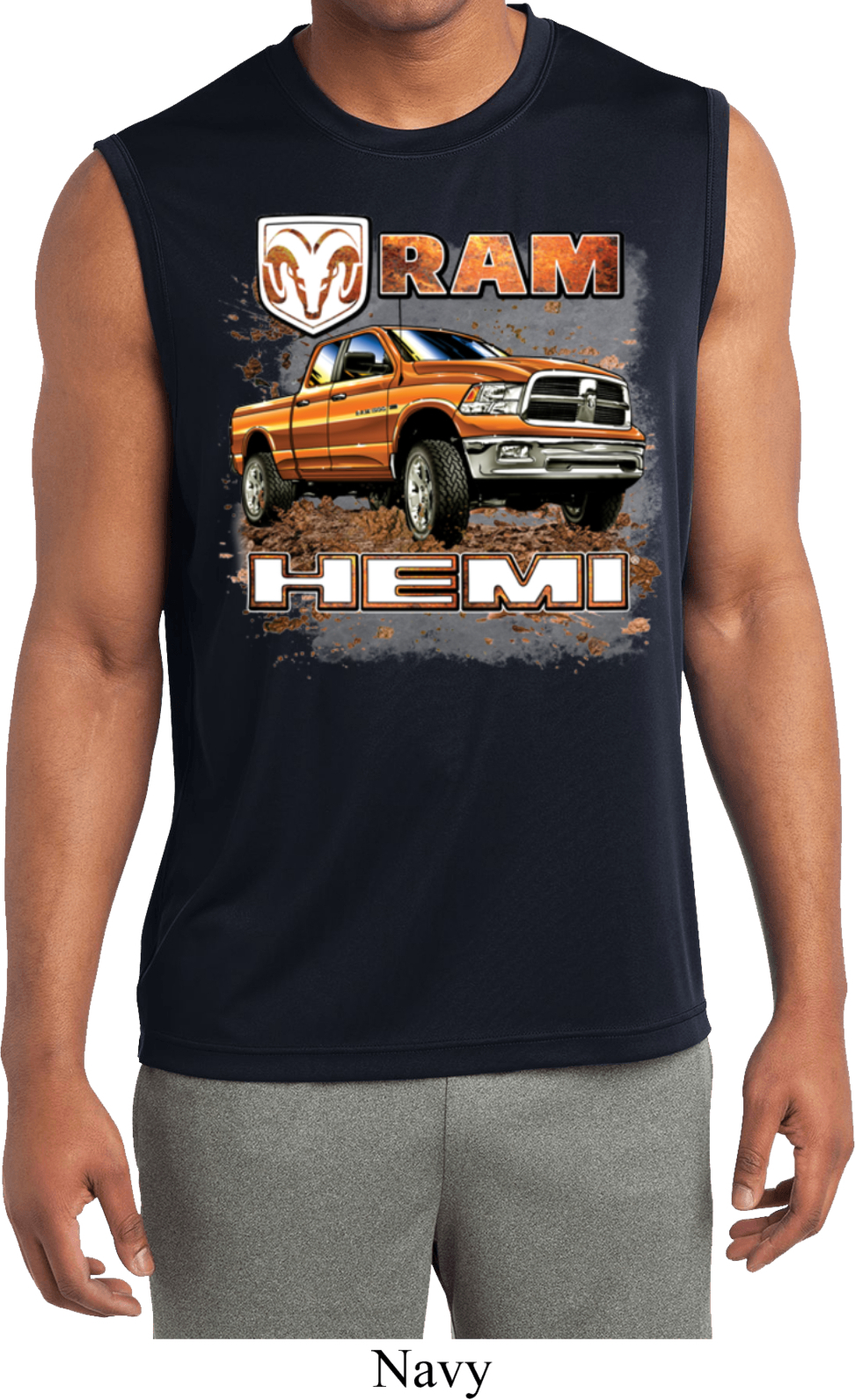 Mens shirt ram hemi trucks sleeveless moisture wicking tee for Sweat wicking t shirts